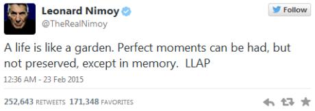Leonard Nimoy Final Tweet